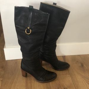 Coach Black Leather Heeled Boots Knee High 7.5